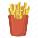 box, cartoon, food, french, fry, paper, potato icon