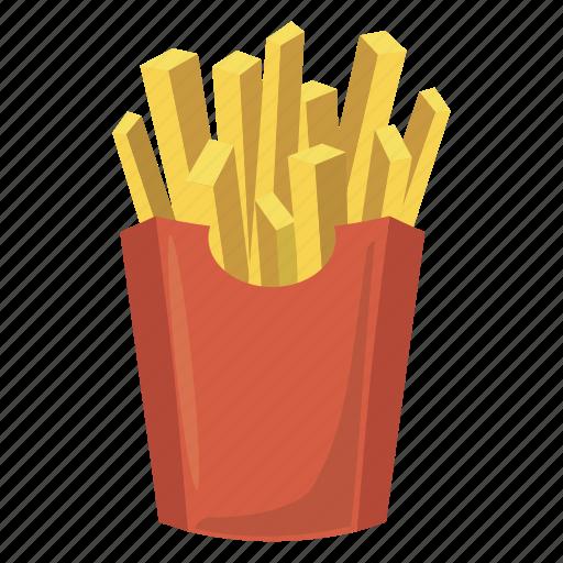 Box Cartoon Food French Fry Paper Potato Icon
