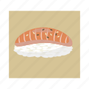 cartoon, food, meal, rice, salmon, sashimi, sushi icon