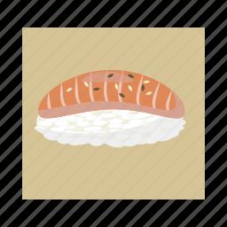 cartoon, food, meal, rice, salmon, sashimi, sushi icon