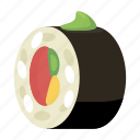 cartoon, dinner, fish, gourmet, rice, roll, sushi icon