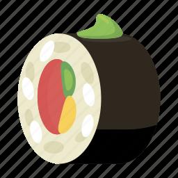 cartoon, dinner, fish, gourmet, rice, roll, sushi icon