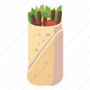 cartoon, chicken, delicious, doner, kebab, meal, shawarma icon