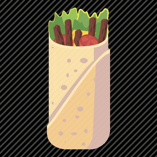 cartoon, chicken, delicious, doner, kebab, meal, shawarma icon