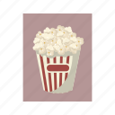 box, cartoon, cinema, corn, food, popcorn, snack icon