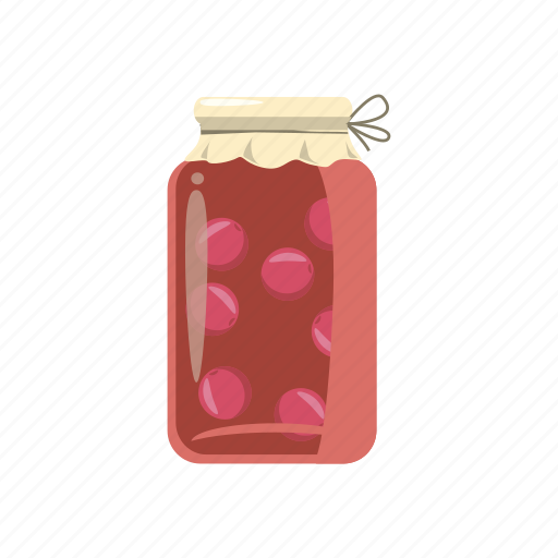 canned, cartoon, compote, food, fruit, glass, jam icon