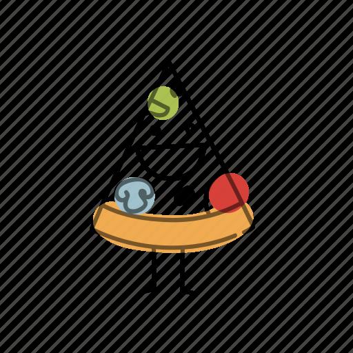 characters, food, mushrooms, pizza, salami icon