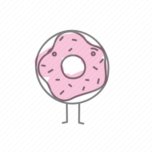 characters, donut, food, pink icon
