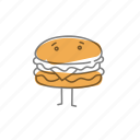 characters, cheeseburger, food, hamburger icon