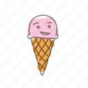 characters, food, ice cream, ice-cream, pink icon
