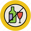 no wine, wine forbidden, wine not allowed, wine prohibition, wine restricted icon