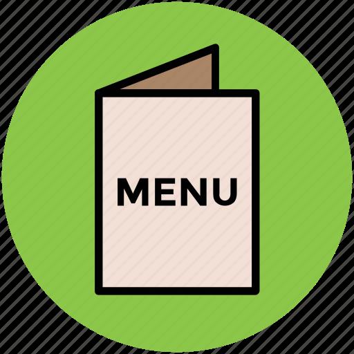 cuisine menu, food menu, menu, menu book, menu card, restaurant icon