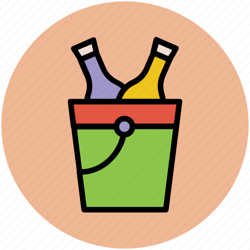 alcohol bottles, drink bottles, wine bottles, wine bucket, wine cooler icon