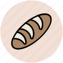 baguette, bakery food, bread, breakfast, carbs, french bread icon