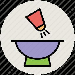 adding salt, cooking, cooking pot, meal preparation, salt pot, salt shaker icon