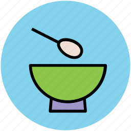 bowl, eating, food bowl, meal, soup, soup bowl, spoon icon