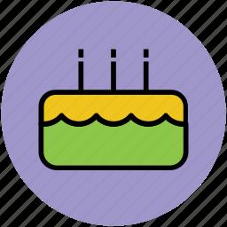 bakery food, birthday cake, cake, cake with candle, dessert icon