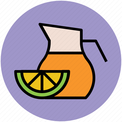 drink, jug, lemon juice, lemon slice, orange juice icon