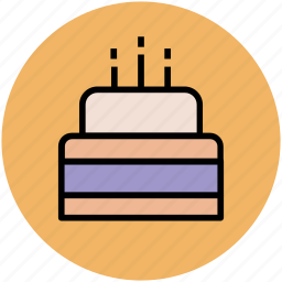 bakery food, birthday cake, cake, cake with candle, dessert icon