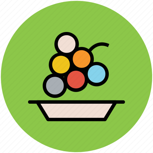bunch of grapes, food, fruit, grapes, healthy diet, nutrition, plate icon