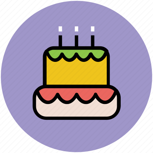 bakery food, birthday cake, cake, cake with candle, dessert, party icon