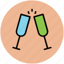 celebration, champagne glasses, cheers, party, toasting icon