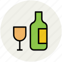 alcohol, beverage, bottle, drink, glass, wine, wine bottle icon