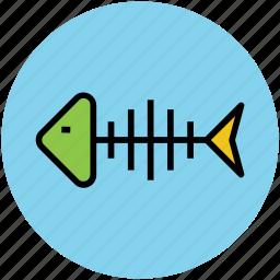 fish bone, fish skeleton, food, sea food icon