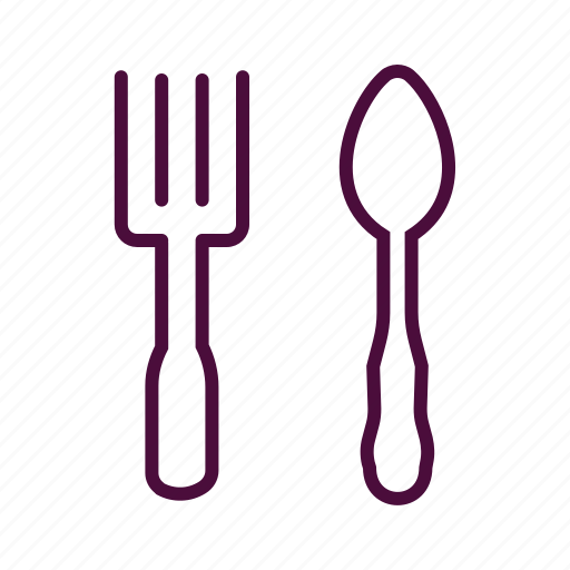 dinner set, fork, fork and spoon, meal, restaurant, spoon icon