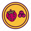berries, cherry and strawberry, fruit diet, healthy food icon