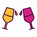 alcohol, beverage, cheers, drink, glass, juice, wine icon