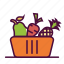 fruit bag, fruit basket, fruits, healthy food, veggies icon
