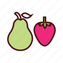 food, fruits, healthy food, nutrition food, pear, strawberry icon