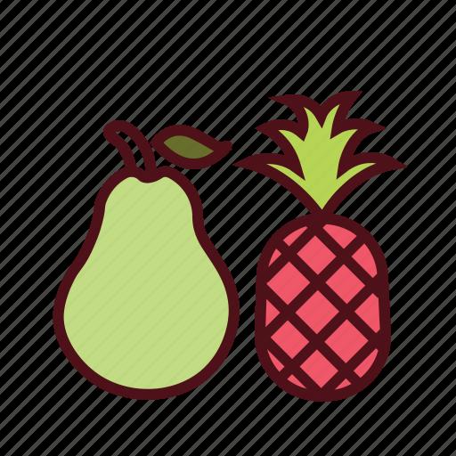 dessert, diet, food, fresh fruit, healthy food, pear, pineapple icon