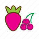 berries, berry fruit, cherries, food, healthy food, strawberry, strawberry and cherries icon