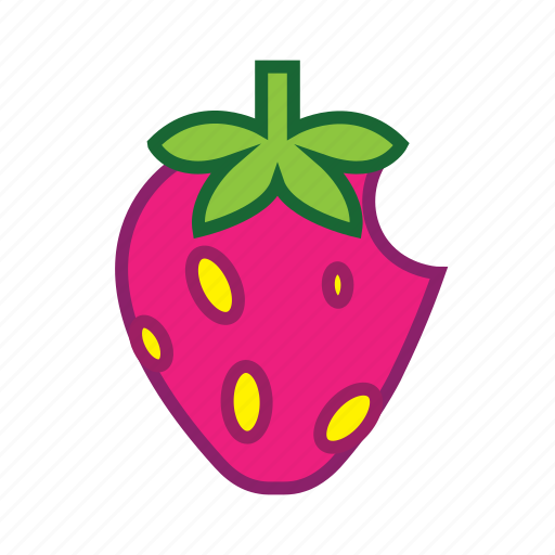 berries, berry fruit, bite, food, healthy food, strawberry icon