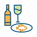 alcohol, beer, beverage, bottle, drinks, wine, wine with fish fry icon
