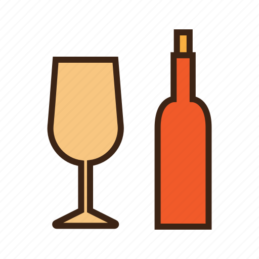 alcohol, beer, beverage, bottle and glass, drinks, party, wine icon