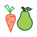 carrot, fruit, healthy food, pear, veggiesvegetable icon