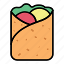 breakfast, crepes, eat, food, kebab, meal, meat icon