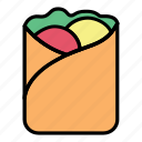 breakfast, crepes, food, kebab, meal, meat, vegetable icon