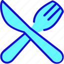 cutlery, dinner, food, fork, knife, sign, tableware icon