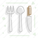 cutlery, eat, fork, knife, spoon, table appointments icon