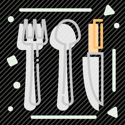 cutlery, eat, fork, knife, spoon icon