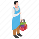 greengrocer, shopper, vegetable bucket, vegetable buying, vegetable shopping icon