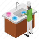 cleaning services, dish cleaner, dishwasher, kitchen cleaner, servant icon