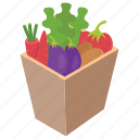 green grocery, healthy salad, natural food, vegetable bucket, vegetable container icon
