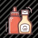 ketchup, mustard, sauces