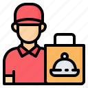avatar, boy, courier, delivery, food, man, take away icon