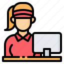 avatar, cashier, commerce, fast food, store, supermarket, woman icon